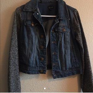 long sleeved dark blue jean jacket/ sweater